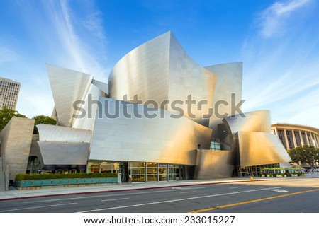 LOS ANGELES - OCTOBER 25: Walt Disney Concert hall on October 25, 2014 in LA. The concert hall houses the Los Angeles Philharmonic Orchestra and is a design by architect Frank Gehry. - stock photo