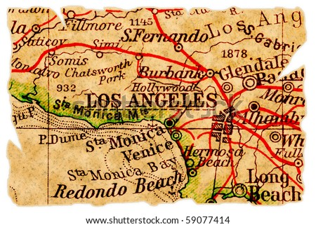 Los Angeles on an old torn map, isolated. Part of the old map series. - stock photo
