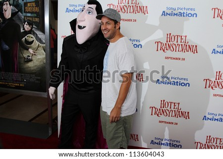 LOS ANGELES - SEP 22:  Adam Sandler, Dracula Character at the screening of  'Hotel Transylvania' at Pacific Theater at The Grove on September 22, 2012 in Los Angeles, CA - stock photo