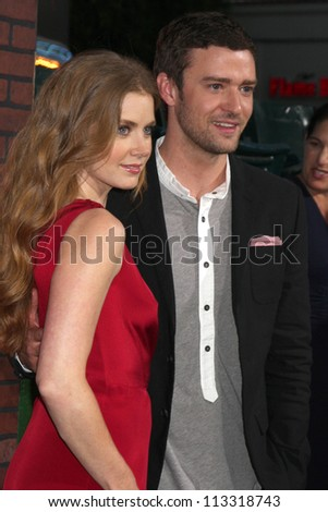 """LOS ANGELES - SEP 19:  Amy Adams, Justin Timberlake arrives at the """"Trouble With The Curve"""" Los Angeles Premiere at Village Theater on September 19, 2012 in Westwood, CA - stock photo"""