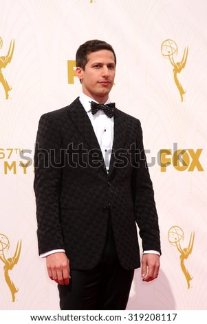 LOS ANGELES - SEP 20:  Andy Samberg at the Primetime Emmy Awards Arrivals at the Microsoft Theater on September 20, 2015 in Los Angeles, CA - stock photo