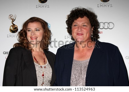 LOS ANGELES - SEP 21:  Bridgett Casteen, Dot-Marie jones arrives at the Primetime Emmys Performers Nominee Reception at Spectra by Wolfgang Puck on September 21, 2012 in Los Angeles, CA - stock photo