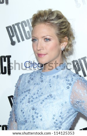 """LOS ANGELES - SEP 24:  Brittany Snow arrives at the """"Pitch Perfect'"""" Premiere at ArcLight Cinemas on September 24, 2012 in Los Angeles, CA - stock photo"""