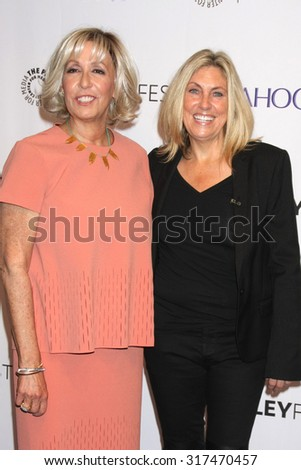 "LOS ANGELES - SEP 16:  Carol Mendelsohn, Ann Donahue at the PaleyFest 2015 Fall TV Preview - ""CSI"" Farewell Salute at the Paley Center For Media on September 16, 2015 in Beverly Hills, CA - stock photo"