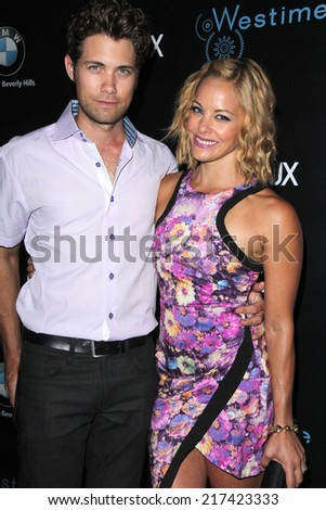 LOS ANGELES - SEP 14:  Drew Seeley, Amy Paffrath at the Genlux Rodeo Drive Festival of Watches and Jewelry at Rodeo Drive on September 14, 2014 in Beverly Hills, CA - stock photo