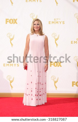LOS ANGELES - SEP 20:  Edie Falco at the Primetime Emmy Awards Arrivals at the Microsoft Theater on September 20, 2015 in Los Angeles, CA - stock photo