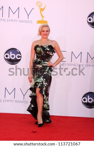 LOS ANGELES - SEP 23:  Elisabeth Moss arrives at the 2012 Emmy Awards at Nokia Theater on September 23, 2012 in Los Angeles, CA - stock photo
