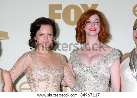 LOS ANGELES - SEP 18:  Elisabeth Moss, Christina Hendricks in the Press Room at the 63rd Primetime Emmy Awards at Nokia Theater on September 18, 2011 in Los Angeles, CA - stock photo