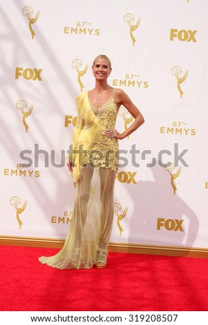 LOS ANGELES - SEP 20:  Heidi Klum at the Primetime Emmy Awards Arrivals at the Microsoft Theater on September 20, 2015 in Los Angeles, CA - stock photo