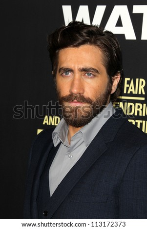 "LOS ANGELES - SEP 17:  Jake Gyllenhaal arrives at the ""End Of Watch"" Premiere at Regal Cinemas L.A. Live on September 17, 2012 in Los Angeles, CA - stock photo"