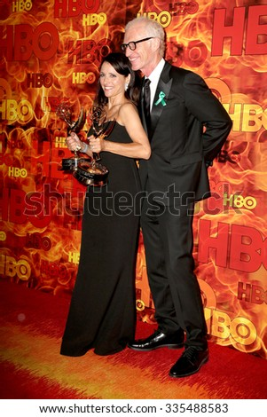 LOS ANGELES - SEP 20:  Julia Louis-Dreyfus, Brad Hall at the HBO Primetime Emmy Awards After-Party at the Pacific Design Center on September 20, 2015 in West Hollywood, CA - stock photo