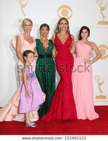 LOS ANGELES - SEP 22:  Julie Bowen, Audrey Anderson-Emmons, Sarah Hyland, Sofia Vergara, Ariel Winter at the 65th Emmy Awards - Press Room at Nokia Theater on September 22, 2013 in Los Angeles, CA - stock photo