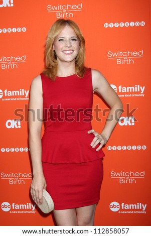 "LOS ANGELES - SEP 13:  Katie Leclerc arrives at the """"Switched at Birth"" Fall Premiere & Book Launch Party at The Redbury Hotel on September 13, 2012 in Los Angeles, CA - stock photo"