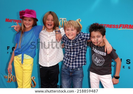 "LOS ANGELES - SEP 21:  Mace Coronel, Lizzy Greene, Casey Simpson, Aidan Gallagher at the ""The Boxtrolls"" Los Angeles Premiere at Universal City Walk on September 21, 2014 in Los Angeles, CA - stock photo"
