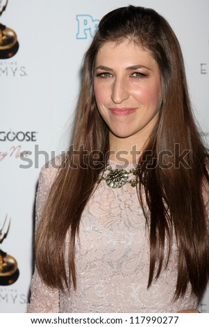 LOS ANGELES - SEP 21:  Mayim Bialik arrives at the Primetime Emmys Performers Nominee Reception at Spectra by Wolfgang Puck on September 21, 2012 in Los Angeles, CA - stock photo