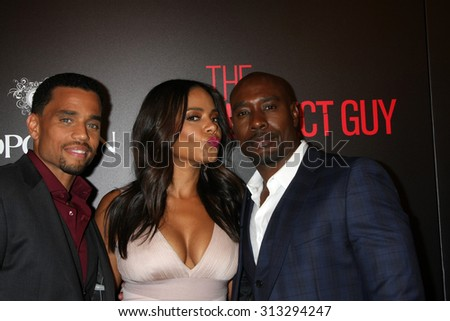 "LOS ANGELES - SEP 2:  Michael Ealy, Sanaa Lathan, Morris Chestnut at the ""The Perfect Guy"" LA Premiere at the Writer's Guild Theater on September 2, 2015 in Beverly Hills, CA - stock photo"