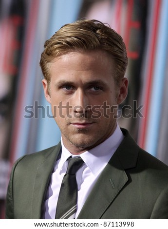 "LOS ANGELES - SEP 27:  Ryan Gosling arrives to the ""The Ides of March"" Los Angeles Premiere  on September 27,2011 in Beverly Hills, CA - stock photo"