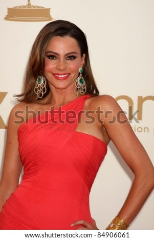 LOS ANGELES - SEP 18:  Sofia Vergara arriving at the 63rd Primetime Emmy Awards at Nokia Theater on September 18, 2011 in Los Angeles, CA - stock photo