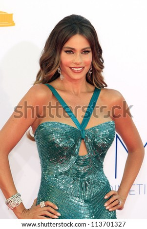 LOS ANGELES - SEP 23: Sofia Vergara at the 64th Primetime Emmy Awards held at Nokia Theater L.A. Live on September 23, 2012 in Los Angeles, California - stock photo