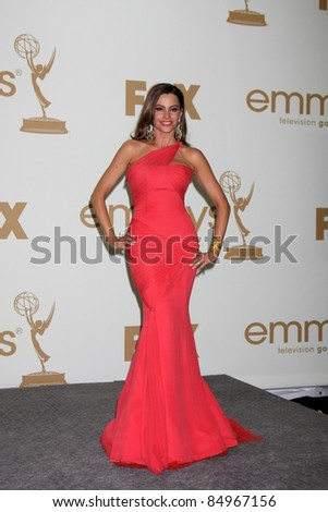 LOS ANGELES - SEP 18:  Sofia Vergara in the Press Room at the 63rd Primetime Emmy Awards at Nokia Theater on September 18, 2011 in Los Angeles, CA - stock photo