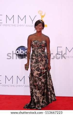 LOS ANGELES - SEP 23:  Sufe Bradshaw arrives at the 2012 Emmy Awards at Nokia Theater on September 23, 2012 in Los Angeles, CA - stock photo