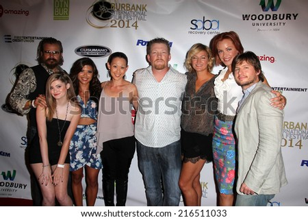 "LOS ANGELES - SEP 6:  Tim Abell, Alexis Raich, T Panhilason, N Bilderback, Chris Ray, Zoe Bell, Kristanna Loken, E DeRuiter at the ""Mercenaries"" Premiere at AMC 6 on September 6, 2014 in Burbank, CA - stock photo"