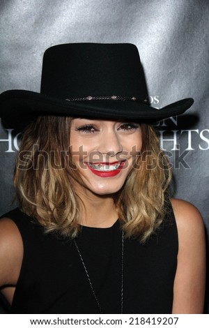 LOS ANGELES - SEP 18:  Vanessa Hudgens at the Universal Studio's Halloween Horror Nights 2014 Eyegore Award at Universal Studios on September 18, 2014 in Los Angeles, CA - stock photo