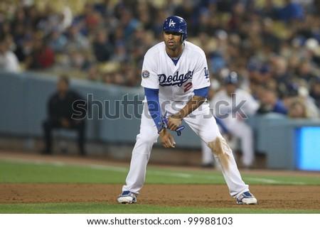 LOS ANGELES - SEPT 17: Dodgers CF (27) Matt Kemp during the Rockies vs. Dodgers game on Sept 17 2010 at Dodgers Stadium. - stock photo