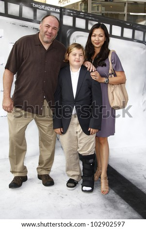 LOS ANGELES - SEPT 25: James Gandolfini, family at the IRIS, A Journey Through the World of Cinema by Cirque du Soleil premiere at the Kodak Theater on September 25, 2011  in Los Angeles, California - stock photo