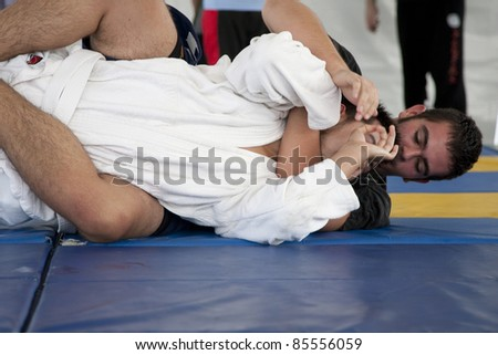 LOS ANGELES - SEPT 25:  Members of Villa Park Jiu-Jitsu demonstrate grappling at Little Tokyo's Cherry Blossom Festival on September 25, 2011 in Los Angeles, CA. - stock photo