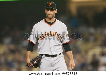 LOS ANGELES - SEPT 22: San Francisco Giants starting pitcher Madison Bumgarner #40 during the Major League Baseball game on Sept 22, 2011 at Dodger Stadium in Los Angeles, CA - stock photo