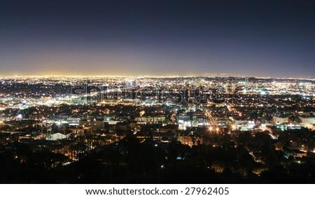 Los Angeles skyline at night, California, USA - stock photo