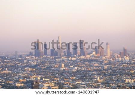 Los Angeles skyline at sunset, California, USA - stock photo