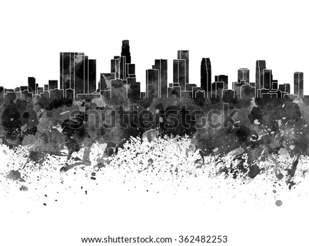 Los Angeles skyline in black watercolor on white background - stock photo