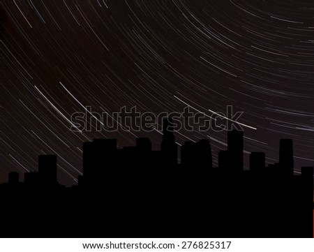 Los Angeles skyline silhouette with star trails illustration - stock photo