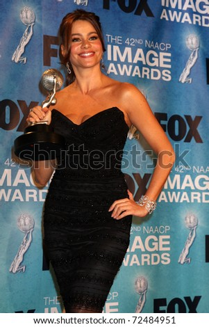 LOS ANGELES -  4: Sofia Vergara in the Press Room of the 42nd NAACP Image Awards at Shrine Auditorium on March 4, 2011 in Los Angeles, CA - stock photo