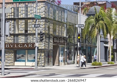 LOS ANGELES, USA - AUG 17 2013: Bulgari shop in the famous Rodeo Drive street in Beverly Hills quartier - stock photo