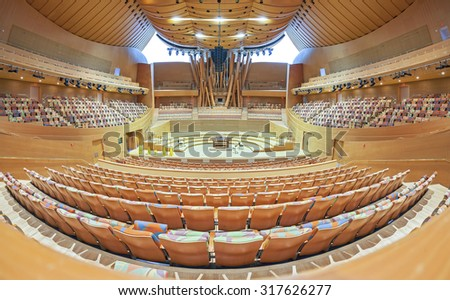 LOS ANGELES, USA - AUGUST 21, 2015: Interior of the Walt Disney Concert Hall The hall designed by Frank Gehry and opened in 2003. The main stage is made from Alaskan yellow cedar. - stock photo