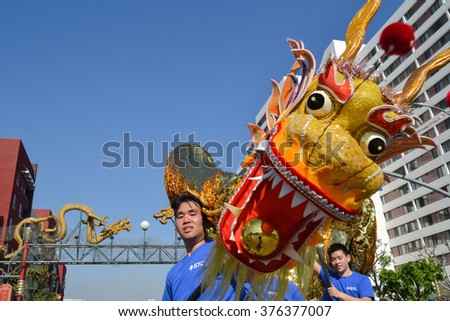 Los Angeles, USA - February 13, 2016: Chinese dragon during the 117th Golden Dragon Parade, celebrating Chinese New Year and the Year of the Monkey. - stock photo