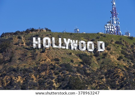 Los Angeles, USA - February 19, 2016: The Hollywood Sign during a typical sunny Southern California day - stock photo