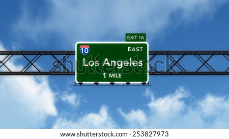 Los Angeles USA Interstate Highway Sign 3D Illustration - stock photo