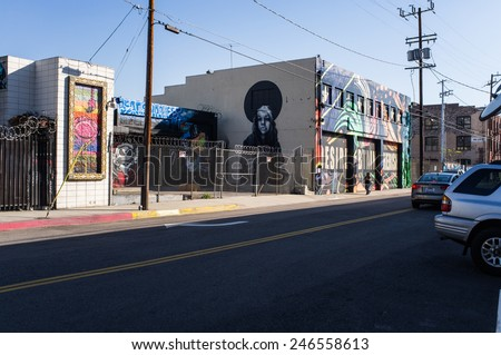 Los Angeles, USA - January 2: Art District in Downtown of Los Angeles, CA on January 2, 2015. - stock photo