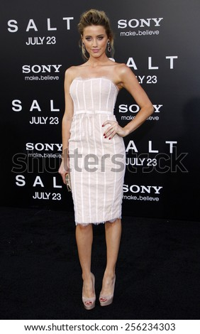 """LOS ANGELES, USA - JULY 19: Amber Heard at the Los Angeles Premiere of """"Salt"""" held at the Grauman's Chinese Theater in Hollywood, USA on July 19, 2010. - stock photo"""