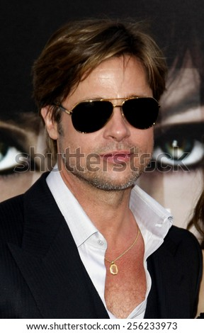 """LOS ANGELES, USA - JULY 19: Brad Pitt at the Los Angeles Premiere of """"Salt"""" held at the Grauman's Chinese Theater in Hollywood, USA on July 19, 2010. - stock photo"""