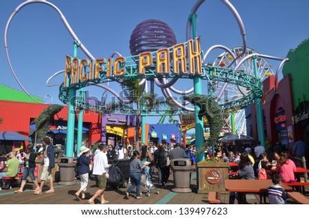 LOS ANGELES, USA - JUN 08: Pacific Park on the Santa Monica beach on Jun 08, 2011. Pacific Park is an ocean front amusement park located in Santa Monica, California - stock photo