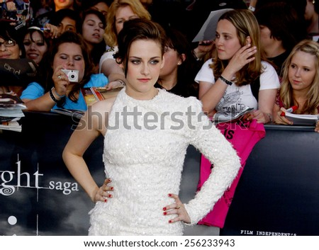 "LOS ANGELES, USA - JUNE 24: Kristen Stewart at the Los Angeles Premiere of ""The Twilight Saga: Eclipse"" held at the Nokia LA Live Theater in Los Angeles, USA on June 24, 2010. - stock photo"