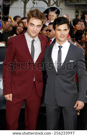 "LOS ANGELES, USA - JUNE 24: Robert Pattinson and Taylor Lautner at the Los Angeles Premiere of ""The Twilight Saga: Eclipse"" held at the Nokia LA Live Theater in Los Angeles, USA on June 24, 2010. - stock photo"