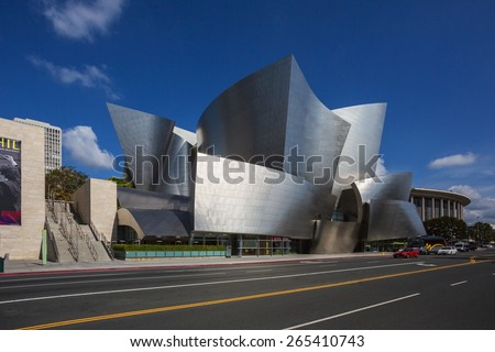 Los Angeles, USA - March 27, 2014: Walt Disney Concert Hall in downtown Los Angeles. The concert hall houses the Los Angeles Philharmonic Orchestra and is a design by architect Frank Gehry. - stock photo