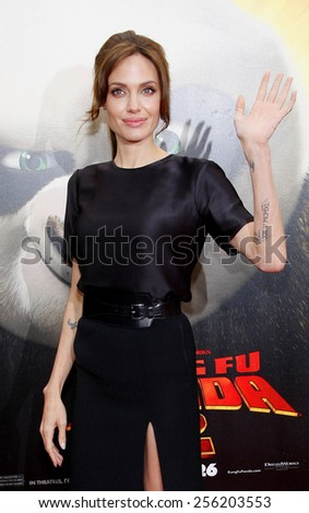 "LOS ANGELES, USA - MAY 22: Angelina Jolie at the Los Angeles Premiere of ""Kung Fu Panda 2"" held at the Grauman's Chinese Theatre in Hollywood, USA on May 22, 2011. - stock photo"