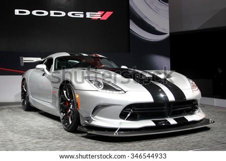 Los-Angeles, USA - Nov 18, 2015: Dodge Viper at the LA Auto Show on Nov 18, 2015 in LA, California - stock photo